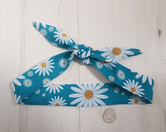 Baby or Toddler Head Scarf Bow - Turquoise Daisy