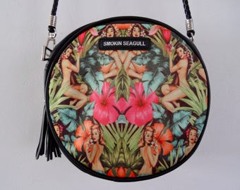 Tropical Pin Up Girl Round Handbag - Hibiscus 1950s Rockabilly Flower Summer Jungle Holiday Bag Clutch