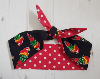 1950s Reversible Parrot and Red Polka Dot Head Scarf - With or Without Wire