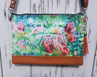 Rainforest Sloth & Frog Handbag - Jungle Tropical Bag Brown