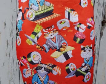 Red Sushi Cat Mini Skirt - Size 8 10 12 14 16 - Kitten Cute Japanese