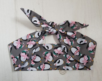 Grey Christmas Penguin Head Scarf