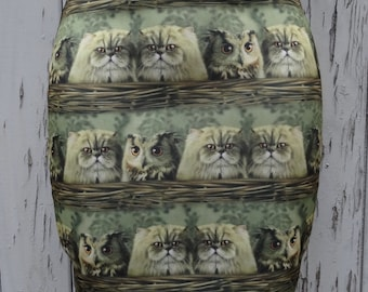 Cute Vintage Cats & Owls in a Basket Skirt - Size 8 10 12 14 - Mini Digital Print Bird Kitten Kitsch Vintage Kawaii Girl 1950s Geek Chic