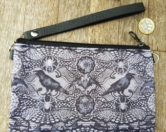 Gothic Lace Effect Spider & Scorpion Purse - Raven Bat Goth Black Clutch Bag
