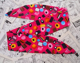 50s Hot Pink Liquorice Allsorts Head Scarf With Wire or Not