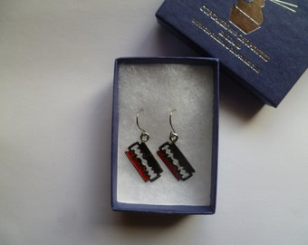 Razor Blade With Blood Earrings - Halloween Horror Nightmare Goth Scary Evil Silver