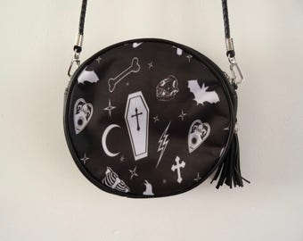 Gothic Alternative Black Round Handbag - Bat Ouija Skull Bag Clutch Horror