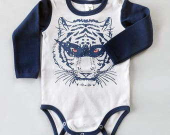 Super Hero Masked Tiger Long Sleeve Baby Grow - Unisex Alternative Tattoo Rockabilly Bodysuit 0-3, 3-6, 6-12 month