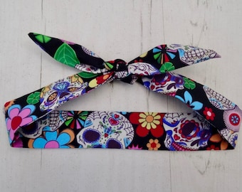 Baby or Toddler Head Scarf - Black Mexican Candy Skulls - Day of the Dead