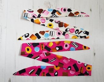 Baby Rockabilly Head Scarf Set - Pink And Cream Liquorice Allsorts - Cotton Shower Bandana Boy Girl Gift Unisex 1950s Pin Up Tattoo