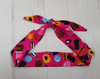 Baby or Toddler Head Scarf - Pink Liquorice Allsorts Sweets