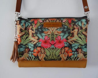 Tropical Pin Up Girl Handbag - Hibiscus 1950s Rockabilly Flower Summer Jungle Holiday Brown Bag Clutch