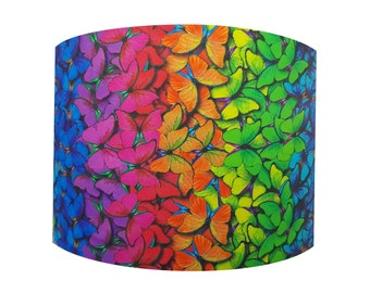 Handmade Rainbow Butterfly Lampshade - Metallic Light Colourful Bright