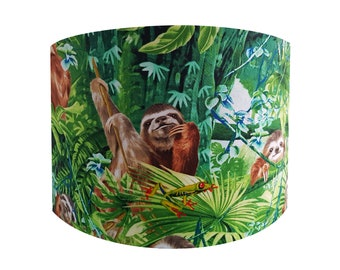 Handmade Rainforest Sloth & Frog Lampshade