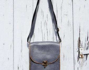 Vintage Leather Style Bag - Blue - Festival Retro Shoulder Handbag Messenger C