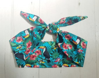 Turquoise Tropical Toucan & Hibiscus Scarf