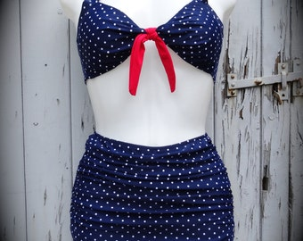 1950s Pin Up Girl Blue Polka Dot Bikini 10 12 14 16 18 Flattering Skirt Vintage Retro