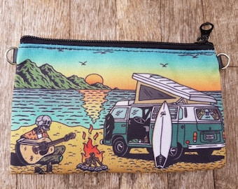 Motor Home Camping Skeleton Purse - Horror Surf Sunset Beach Vegan Leather Clutch Bag
