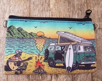 Motor Home Camping Skeleton Purse - Horror Surf Sunset Beach Vegan Leather Clutch Bag