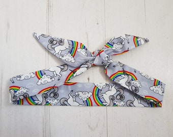 Baby or Toddler Hair Bow Scarf - Unicorn and Rainbow