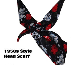 Vintage 50s Mini Black Skull And Rose Head Scarf - Hair Tie - 1950s Bandanna Tattoo Skulls Skeleton Steampunk EMO
