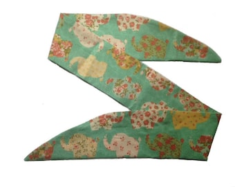 50s Green Floral Elephant Head Scarf With Wire or Not Vtg Hair Tie Thailand India Africa Safari Flower