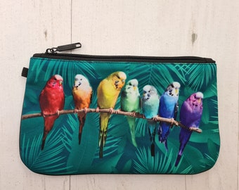 Green Budgie Purse - Bird Parrot Rainbow Tropical Ethical Bag