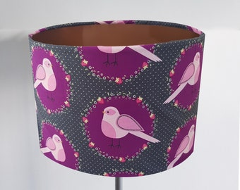 Handmade Grey & Purple Bird Lampshade - Metallic Lining Light Ceiling Robin