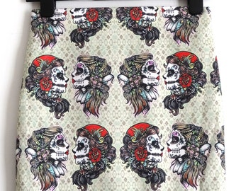 Vintage Gypsy Girl Skirt - Size 8 10 12 14 16 - Mini Bodycon Tattoo Candy Skull Digital Print Retro Wiggle Geek Chic Candy Skull Tattoo Goth