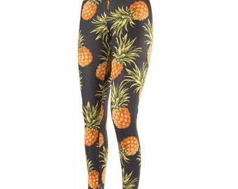 Black Tropical Pineapple Leggings - Size 10 12 14 16 - Yoga Pants