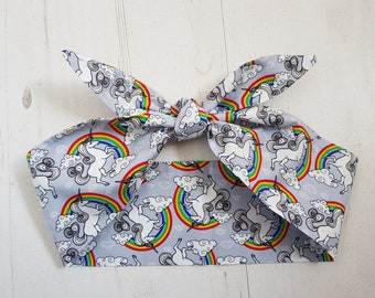 Grey Unicorn & Rainbow Head Scarf - With or Without Wire