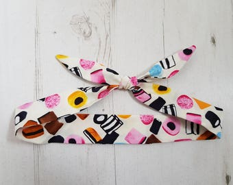 Baby or Toddler Head Scarf - Cream Liquorice Allsorts Sweets