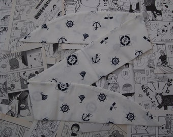White &Navy Blue Nautical Rockabilly Head Scarf With or Without Wire - Anchor Sailor 1950s Bandana Hair Tie Navy Pin Up Girl Vintage