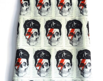 David Bowie Skull Pencil Skirt - Size 8 10 12 14 - Bodycon Retro Bolt Horror Digital Print Retro Wiggle 1950s Geek Chic Lightening Bolt
