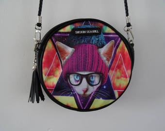 Galaxy Cat In Woolly Hat Round Handbag - Kitten Colourful Quirky Geek Chic Glasses Clutch Bag