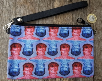 Red & Blue David Bowie Aladdin Sane Purse - Vintage Lightning Bolt Clutch Bag