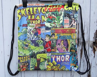 Comic Book Backpack - Bag Gym Handbag Vintage Cartoon Geek Chic