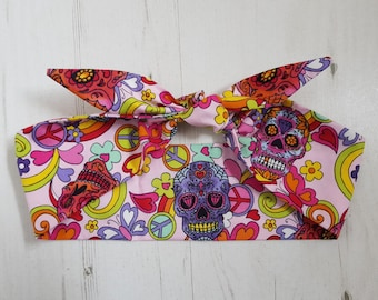 Pink Candy Skull Head Scarf