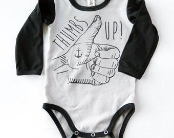 Thumbs Up Tattoo Hand Long Sleeve Baby Grow - Unisex Alternative Anchor Rockabilly Bodysuit 0-3, 3-6, 6-12 month