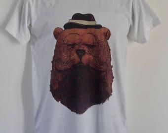 Men's Bearded Gentleman Bear T-Shirt - Tattoo Beard Alternative - UK S M L