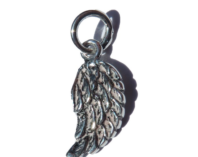 925 Genuine Silver Angel Wing Charm - 92.5% Sterling Necklace Weddings Christening Bride Bridesmaid Flower Girl 21st Sweet 16 Birthday Gift