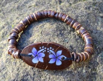 Wooden Coconut Purple Hibiscus Flower Bracelet - Organic Beach Festival Surf Ethnic World Asian Tribal Tribe Alternative Gap Year