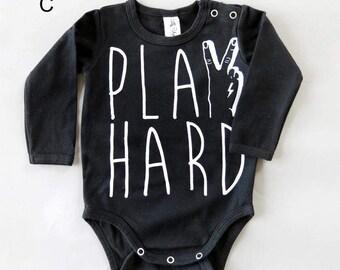 Play Hard Tattoo Hand Long Sleeve Baby Grow - Unisex Alternative Anchor Rockabilly Bodysuit 0-3, 3-6, 6-12 month