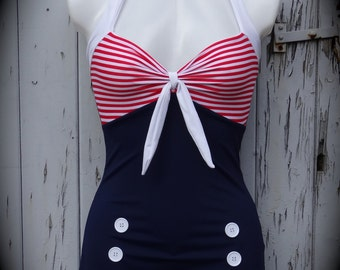 1950s Pin Up Girl Red Stripe Swimming Costume 10 12 14 16 18 20 - Retro Vtg Swimsuit Rockabilly Nautical Blue Sailor