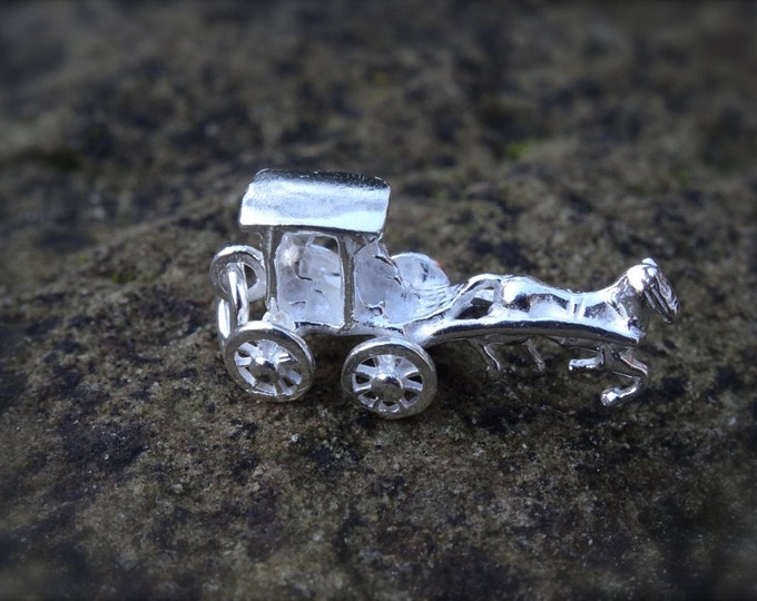 Genuine 925 Silver Wedding Horse & Carriage Charm - Pendant Bracelet Necklace Wedding Christening Bride Bridesmaid Birthday Gift 16 18 21