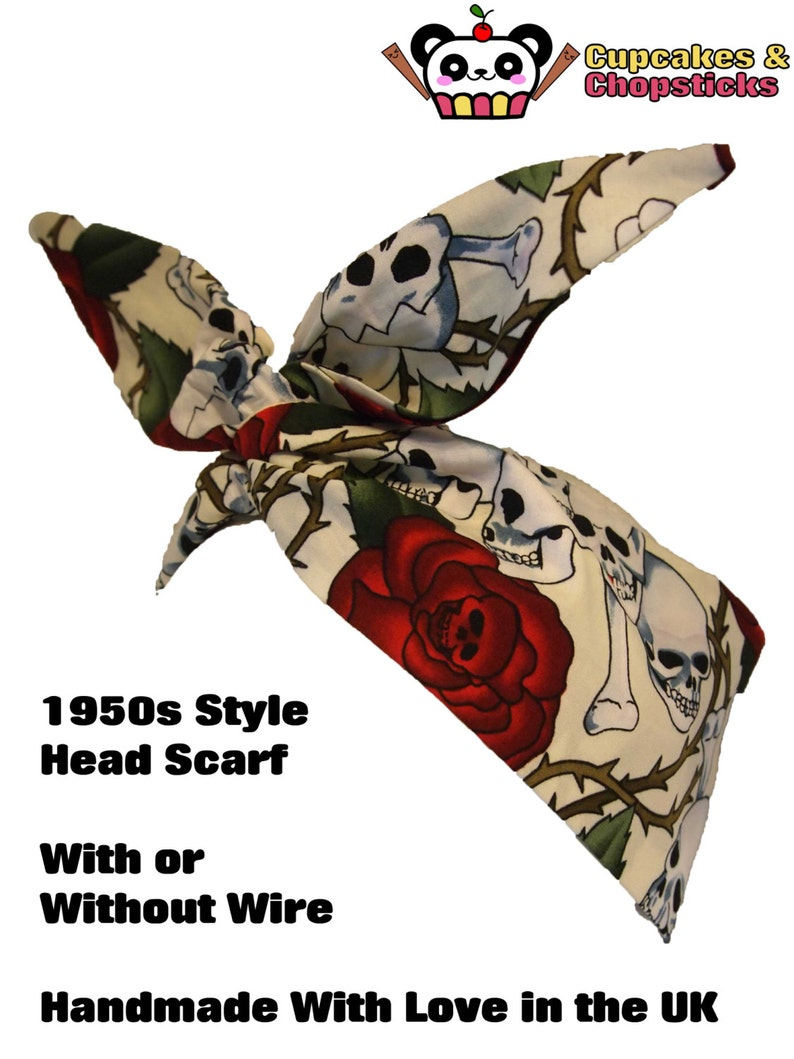 Hair Tie 1950s Bandanna Tattoo Skulls Skeleton Steampunk EMO Rose And Red Polka Dot Head Scarf Vintage 50s Reversible Mini Cream Skull