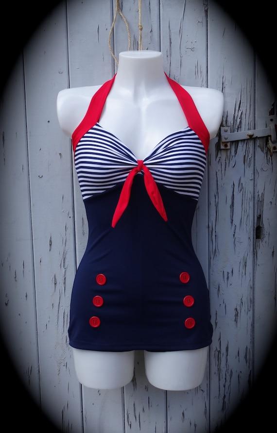1950s Pin Up Girl Navy Blue Stripe Swimming Costume 10 12 14 Etsy