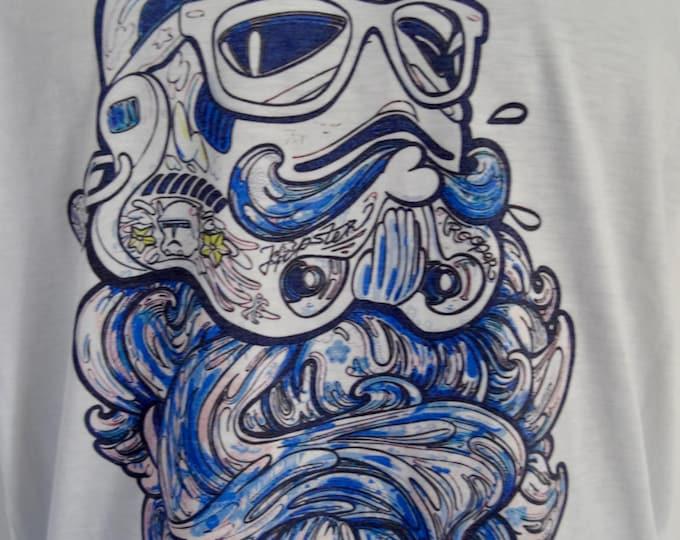 Women's Blue Bearded Geek Stormtrooper T-Shirt - UK 12 14 16 - Tattoo Darth Vader Beard Alternative
