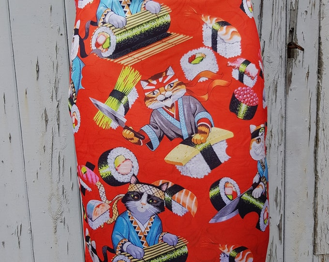 Red Sushi Cat Pencil Skirt - Size 8 10 12 14 - Bodycon Wiggle Japanese Neko