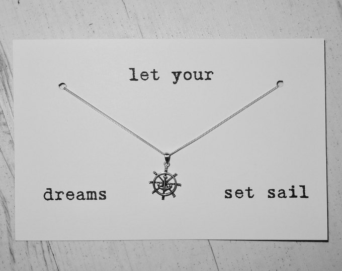 Genuine Silver Set Sail Necklace - 92.5% Sterling Anchor Pirate Inspiration Gap Year Nautical Gift Dreams